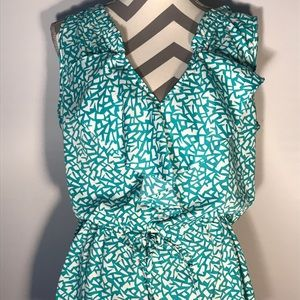 Banana Republic White and Teal green print top